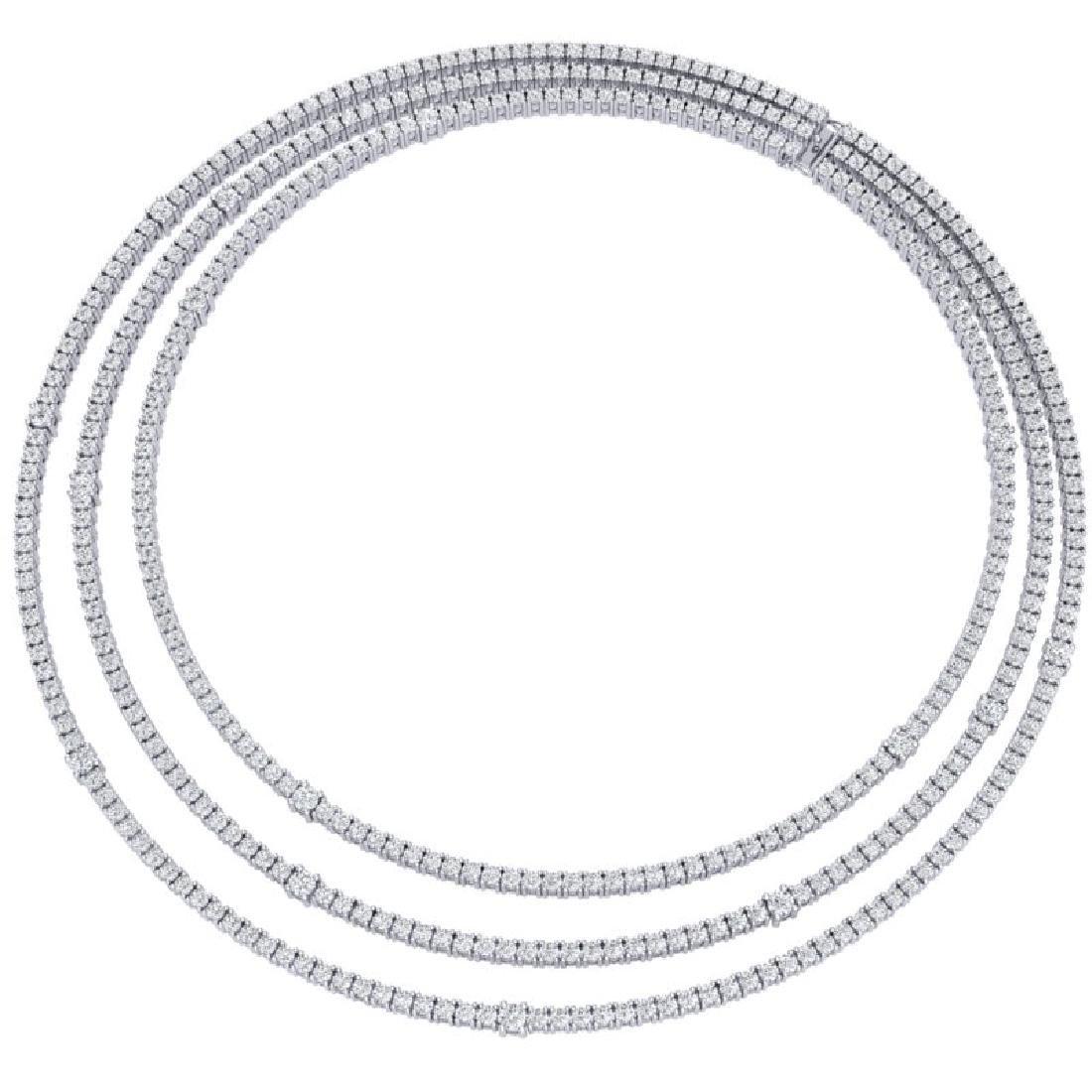 30 CTW Certified VS/SI Diamond Love Necklace 18K White - 3