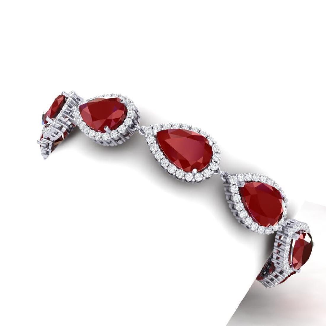 42 CTW Royalty Designer Ruby & VS Diamond Bracelet 18K - 2