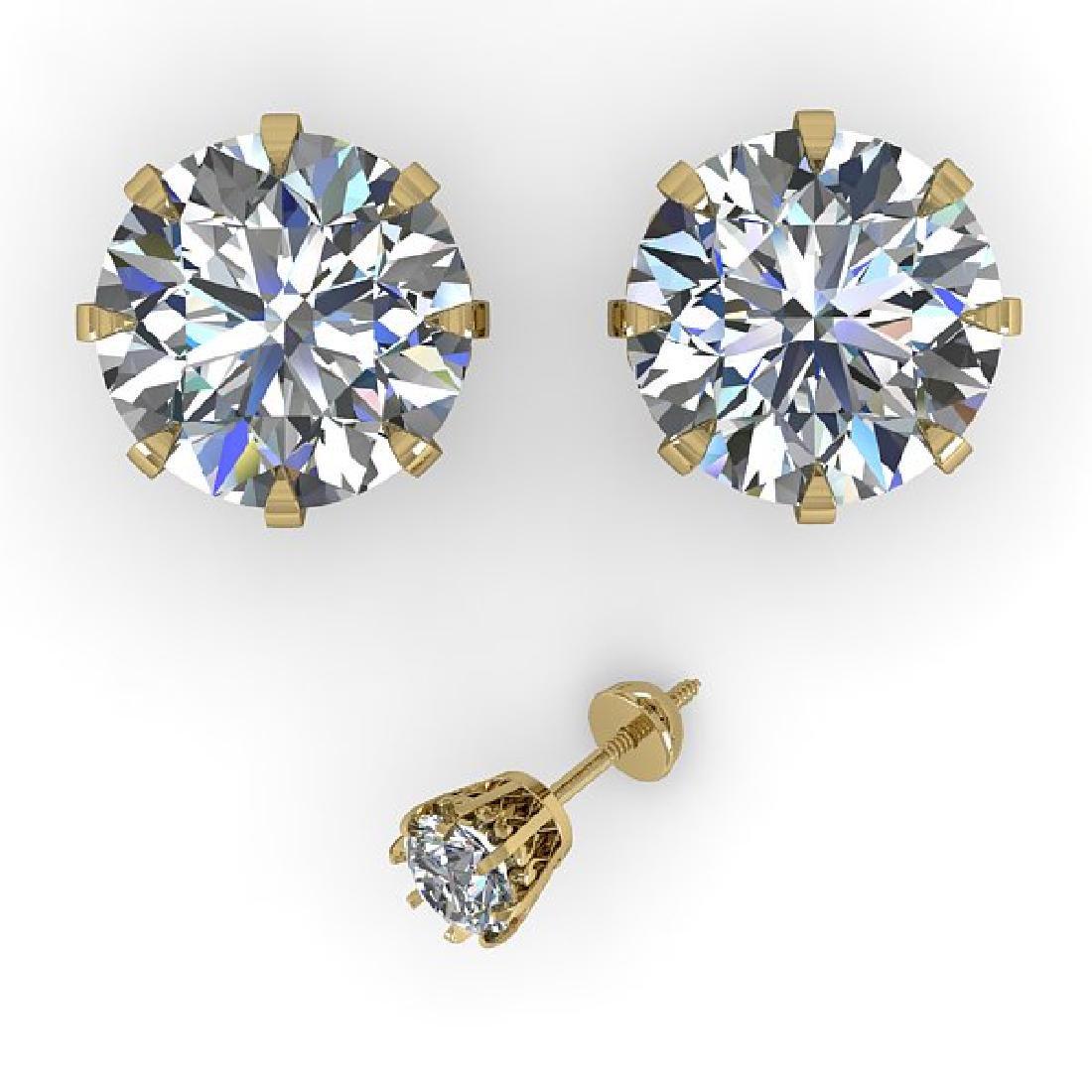 4 CTW VS/SI Diamond Stud Solitaire Earrings 18K Yellow - 2