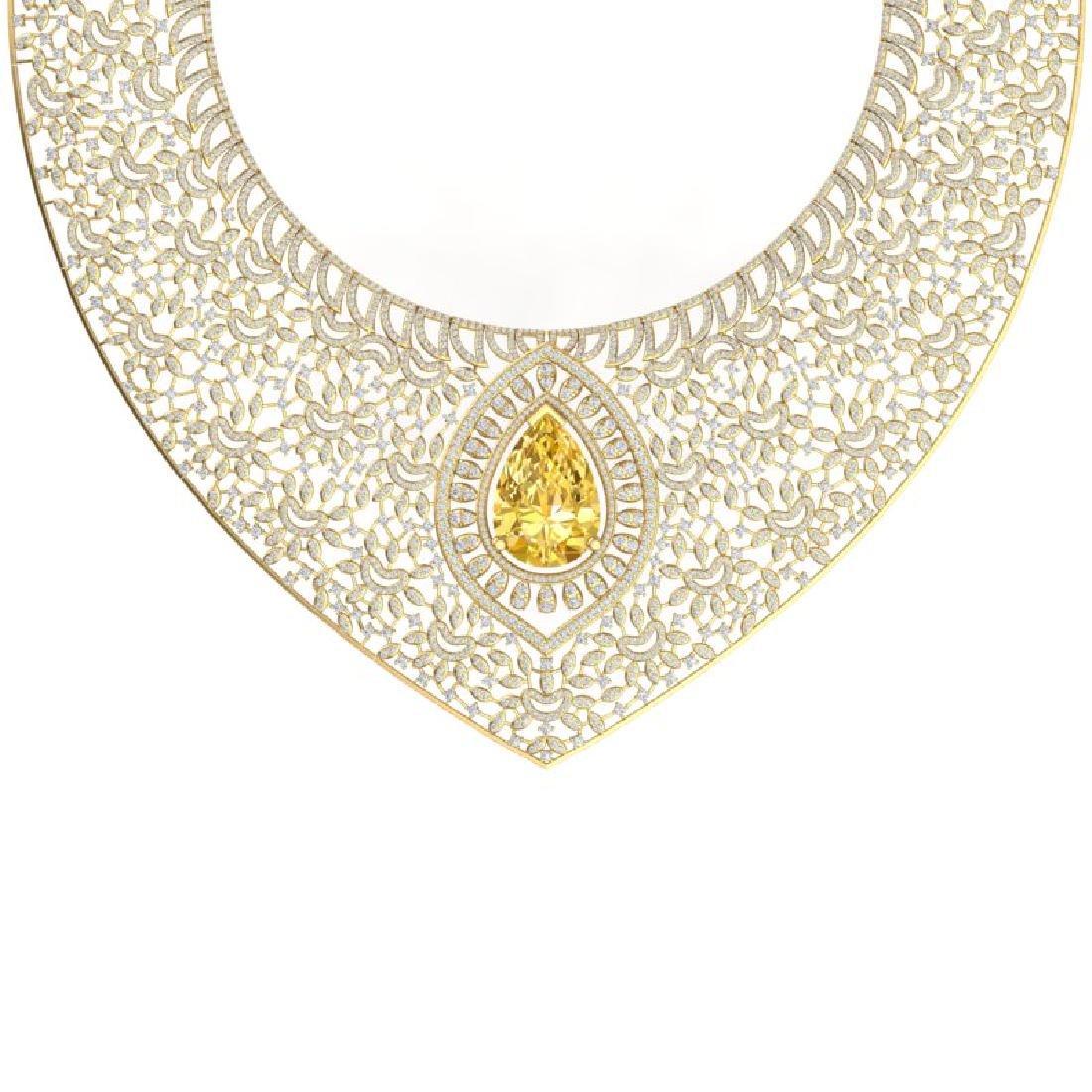 59.27 CTW Royalty Canary Citrine & VS Diamond Necklace - 2