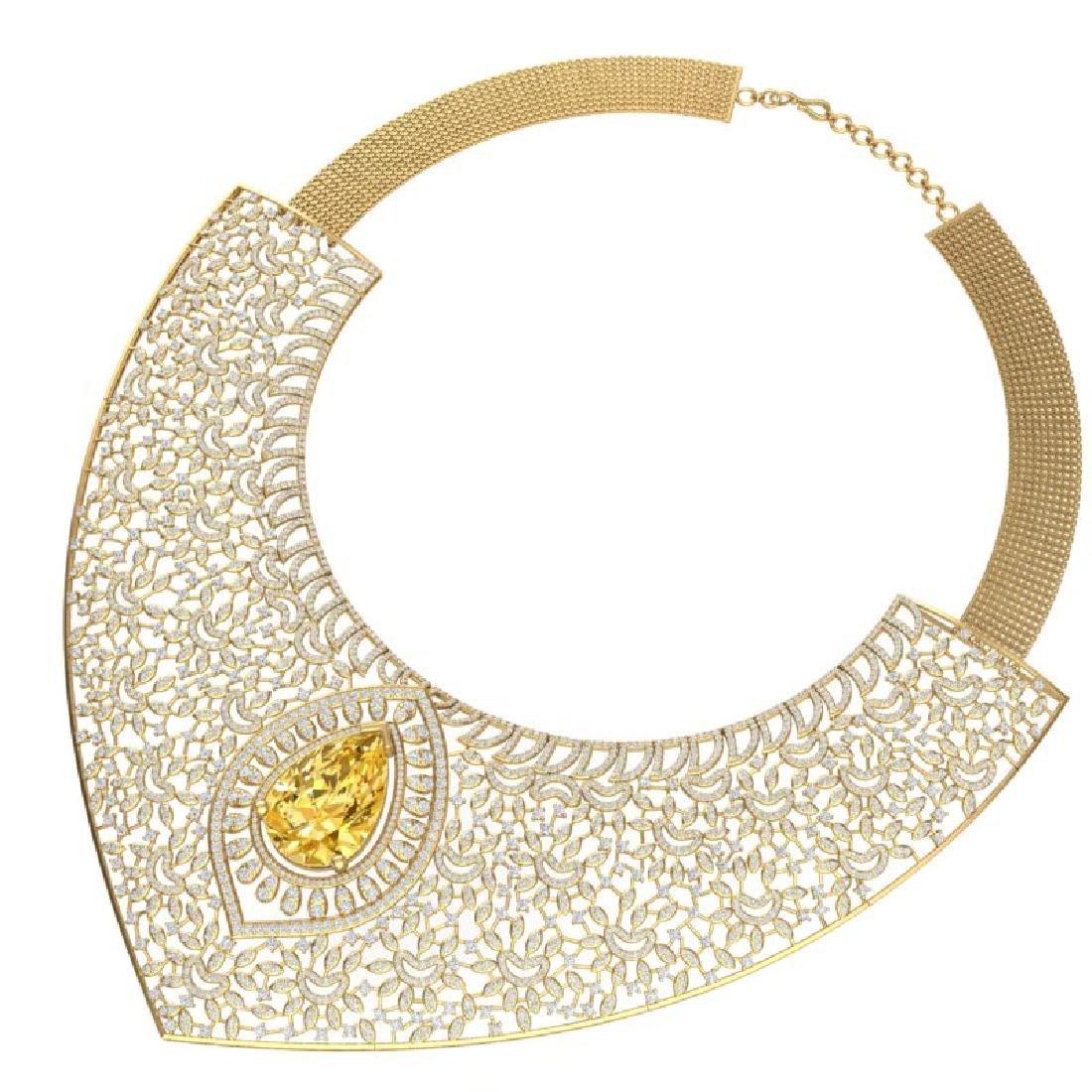 59.27 CTW Royalty Canary Citrine & VS Diamond Necklace - 3