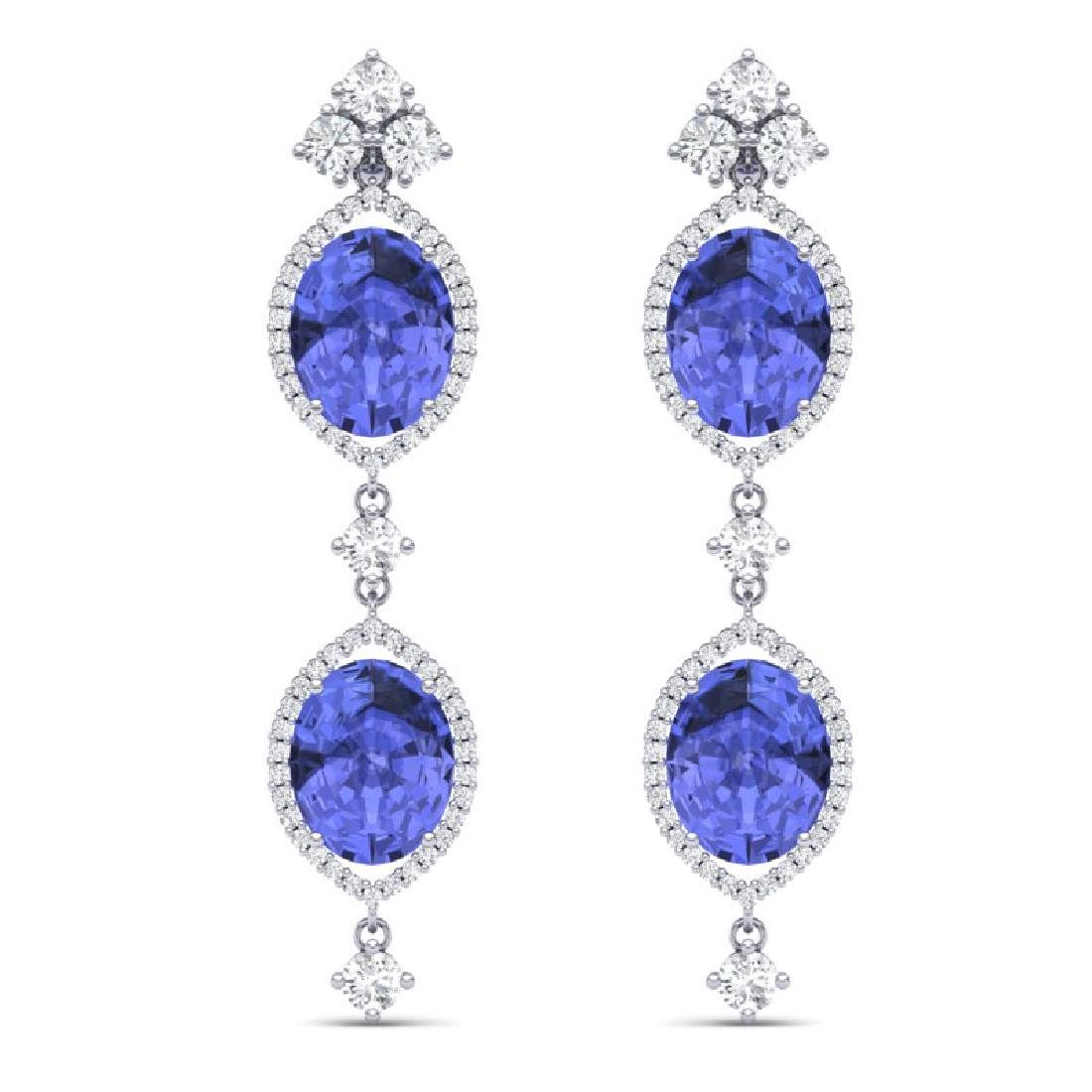 16.21 CTW Royalty Tanzanite & VS Diamond Earrings 18K