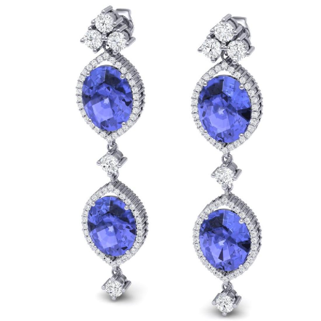 16.21 CTW Royalty Tanzanite & VS Diamond Earrings 18K - 2