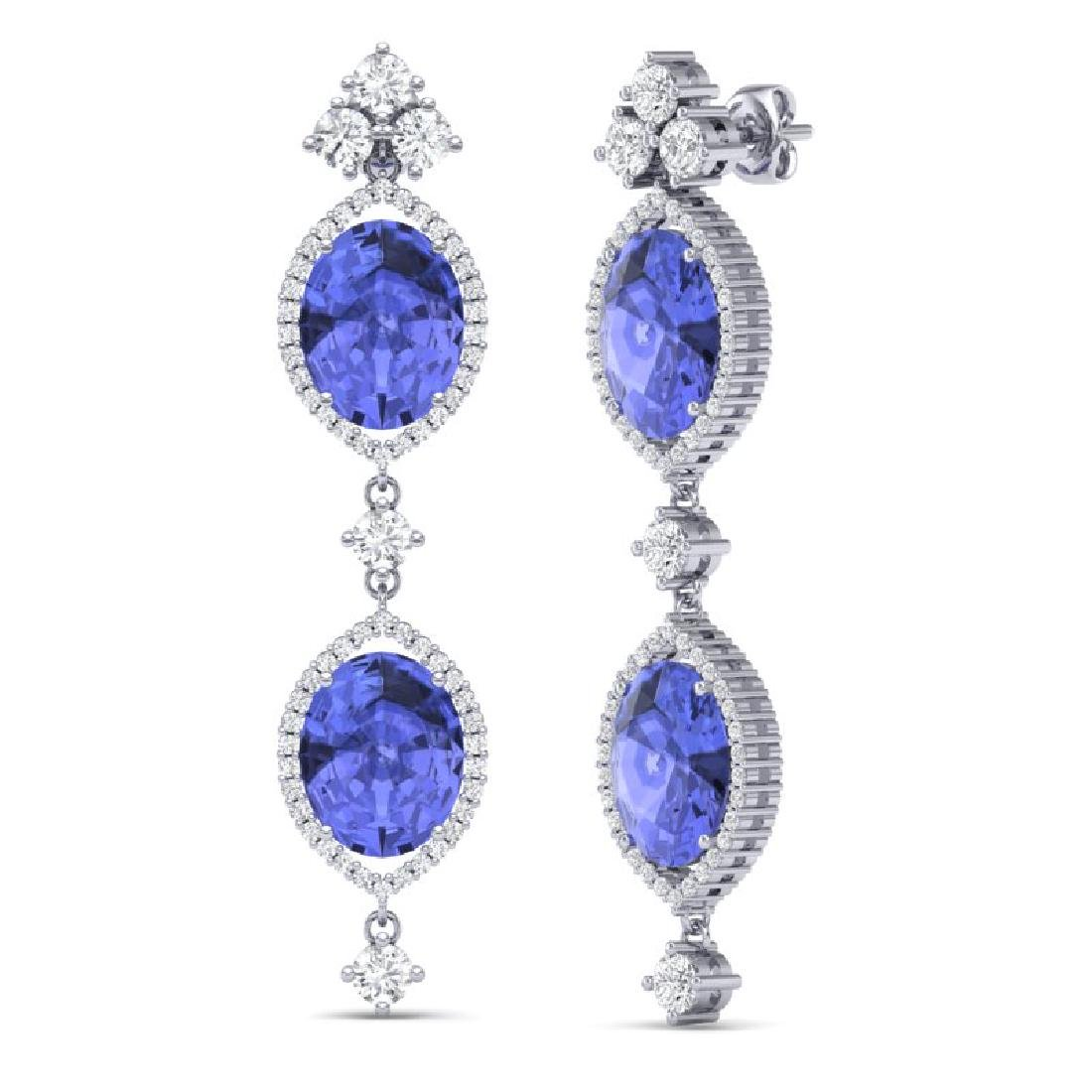 16.21 CTW Royalty Tanzanite & VS Diamond Earrings 18K - 3