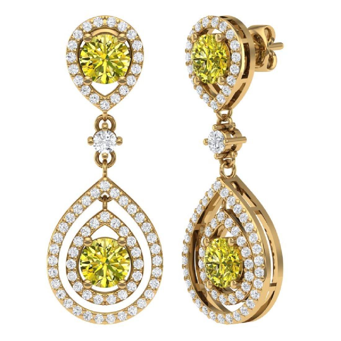 3.9 CTW Fancy Yellow SI Diamond Earrings 18K Yellow - 3