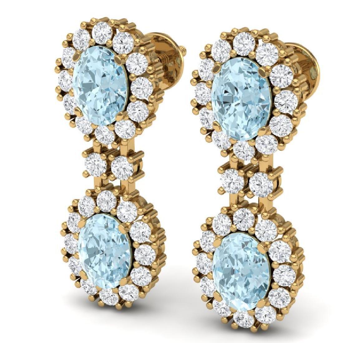8.8 CTW Royalty Sky Topaz & VS Diamond Earrings 18K - 2