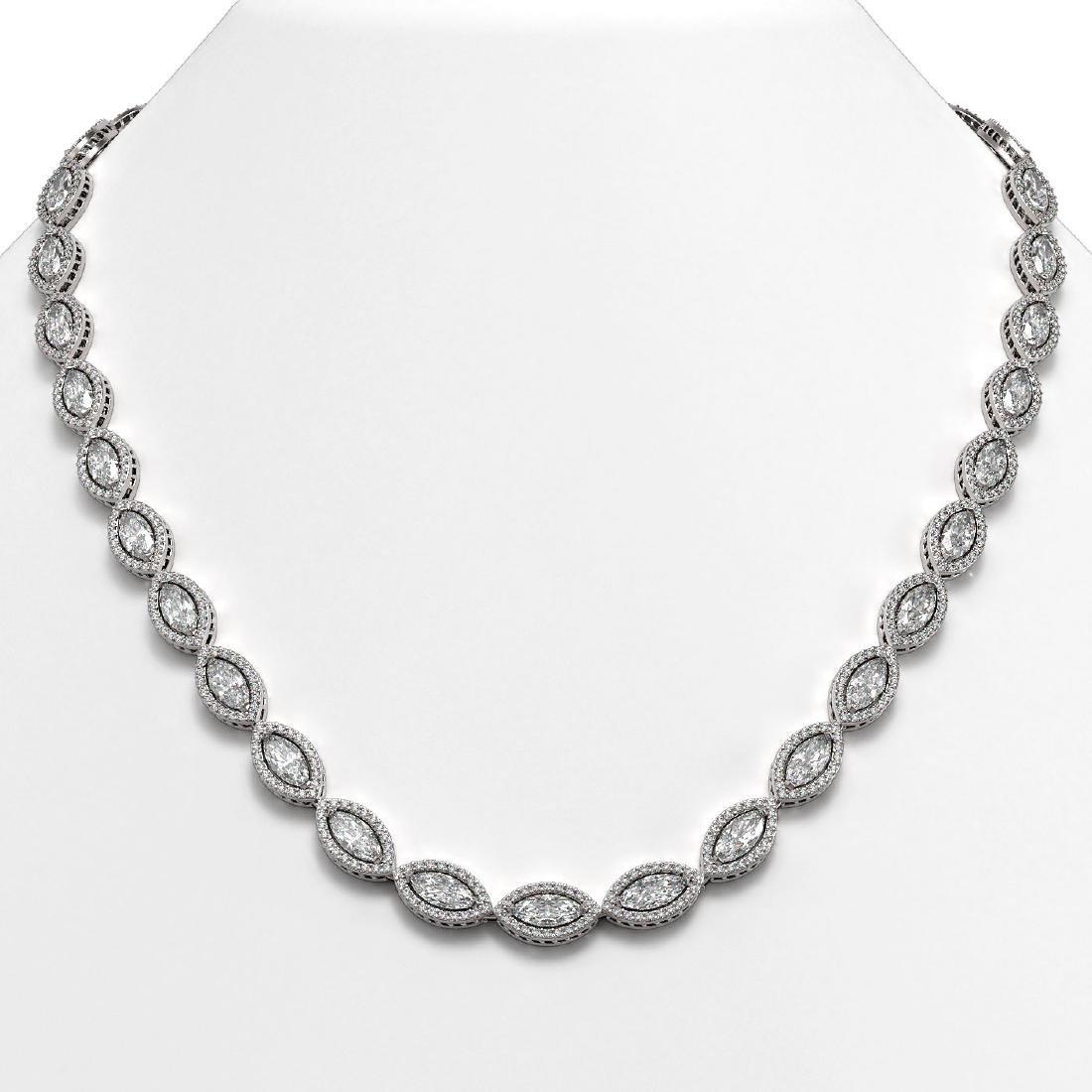 28.12 CTW Marquise Diamond Designer Necklace 18K White