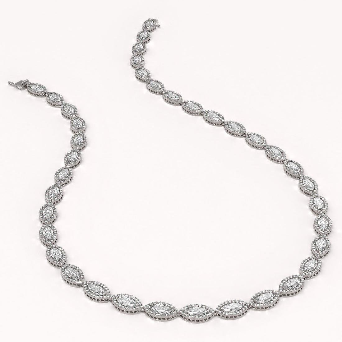 28.12 CTW Marquise Diamond Designer Necklace 18K White - 2