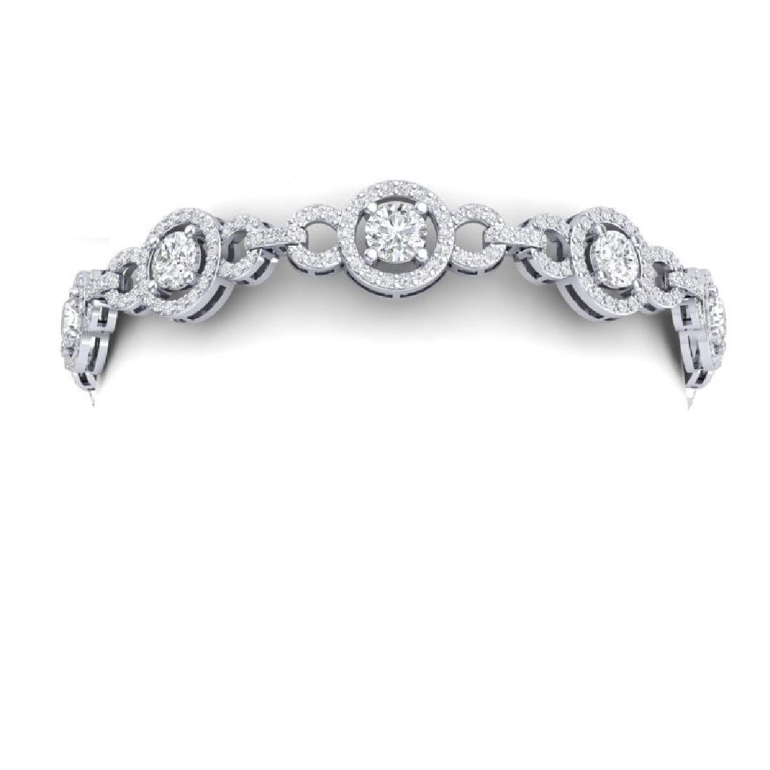 9 CTW Certified SI/I Diamond Halo Bracelet 18K White - 2