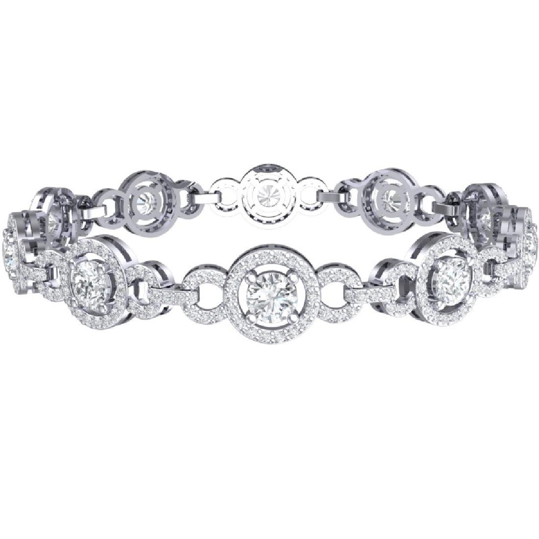 9 CTW Certified SI/I Diamond Halo Bracelet 18K White - 3