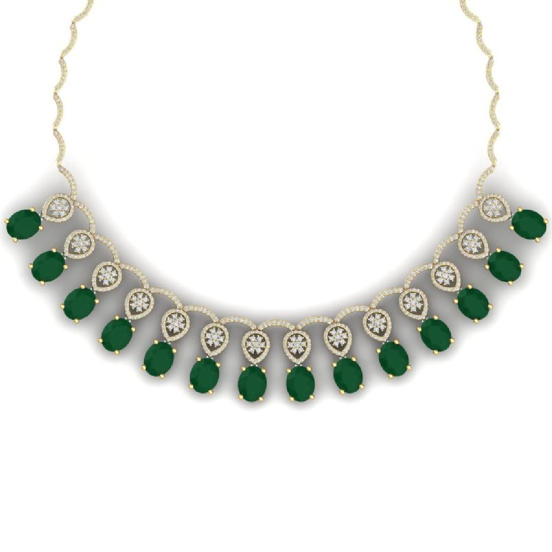 54.05 CTW Royalty Emerald & VS Diamond Necklace 18K