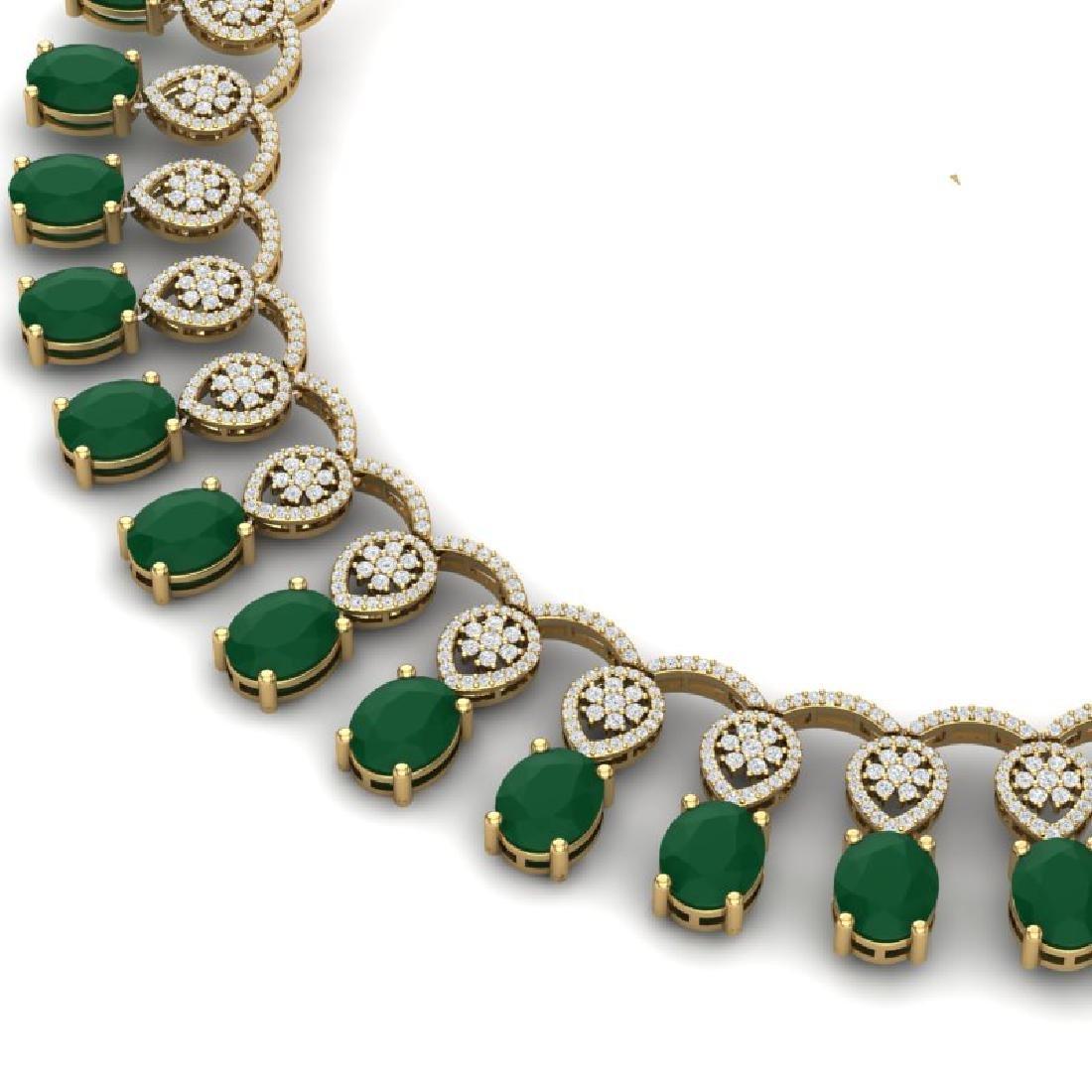 54.05 CTW Royalty Emerald & VS Diamond Necklace 18K - 2