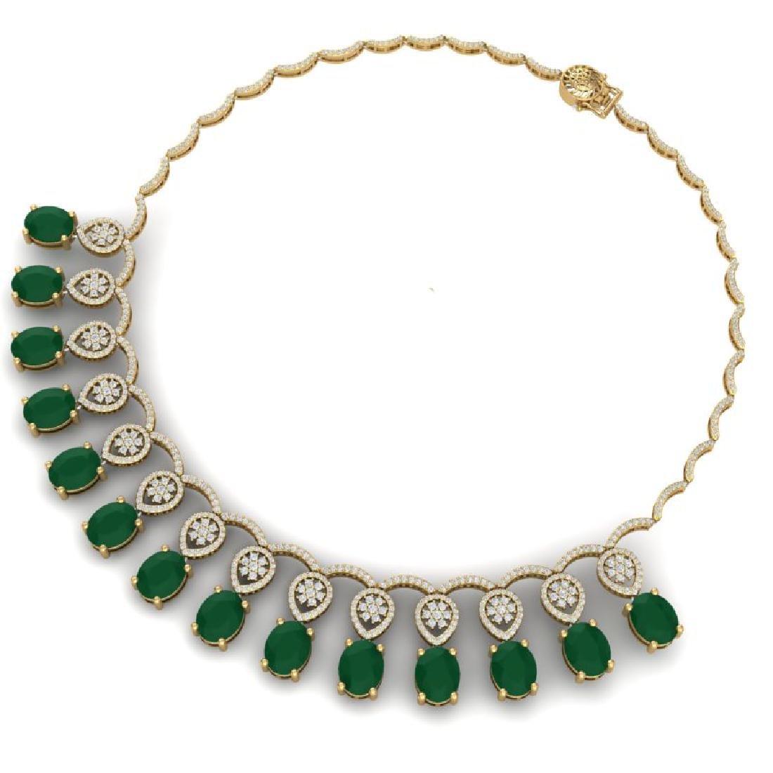 54.05 CTW Royalty Emerald & VS Diamond Necklace 18K - 3