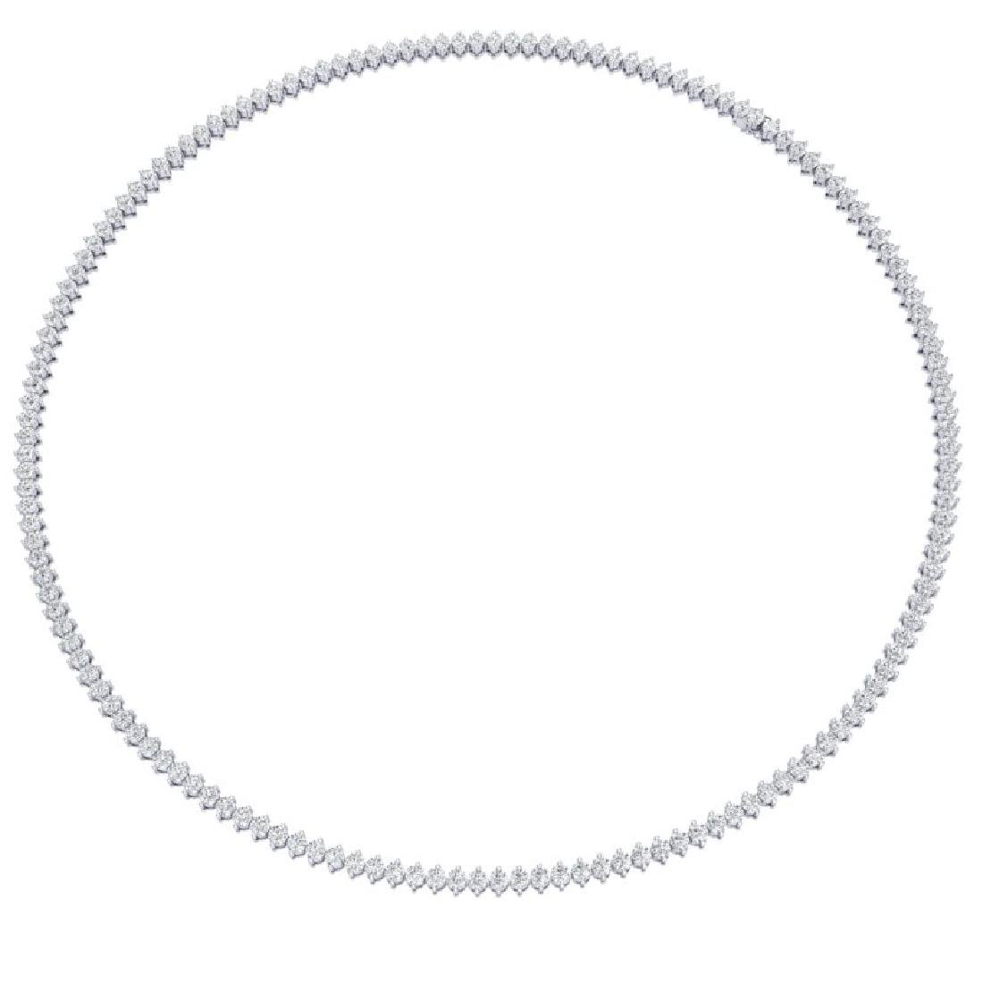 10 CTW Certified SI/I Diamond 2 Prong Necklace 18K - 3