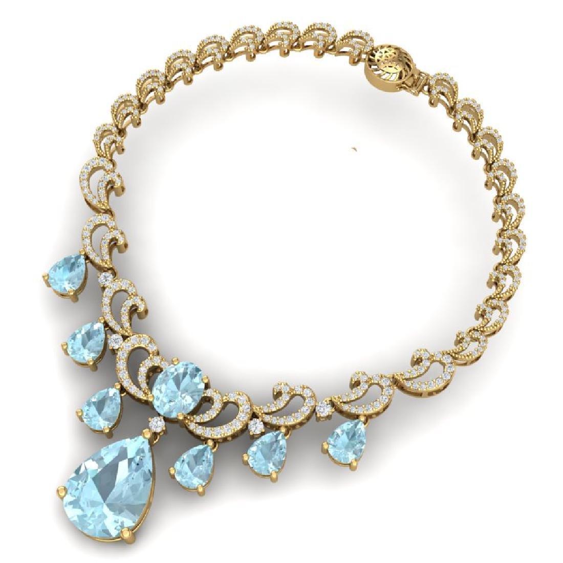 34.69 CTW Royalty Sky Topaz & VS Diamond Necklace 18K - 3