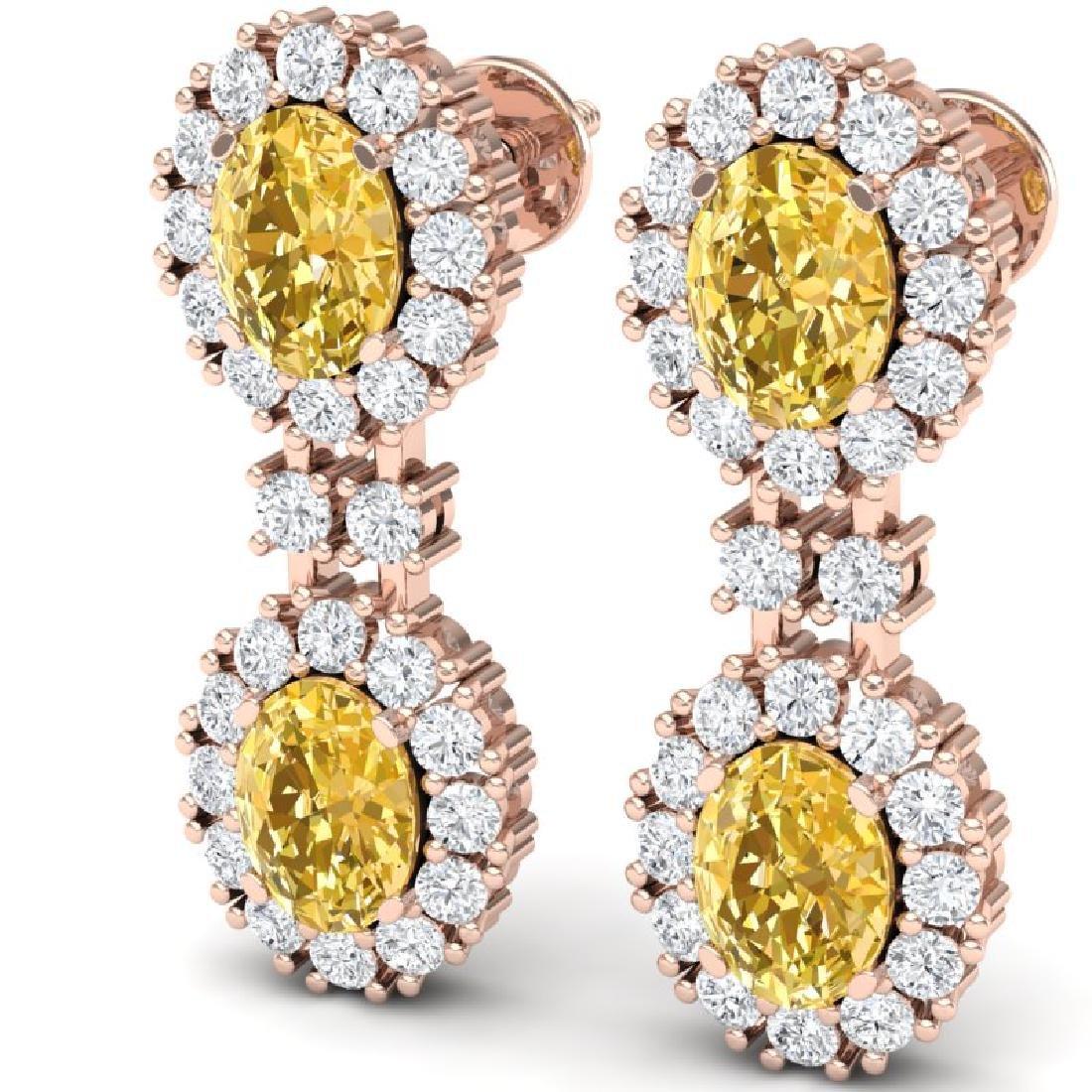 7.8 CTW Royalty Canary Citrine & VS Diamond Earrings - 2