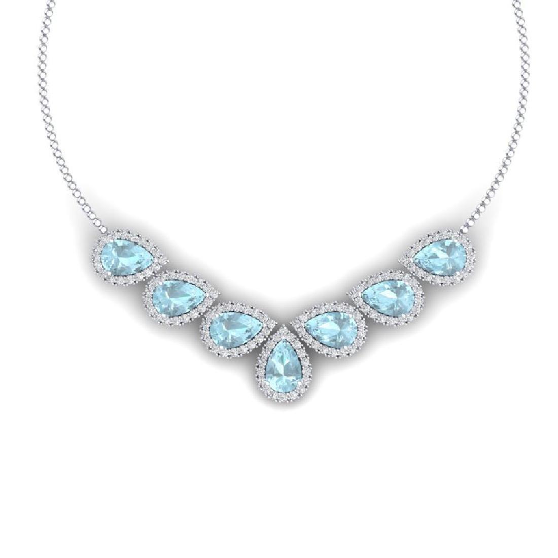 36.24 CTW Royalty Sky Topaz & VS Diamond Necklace 18K