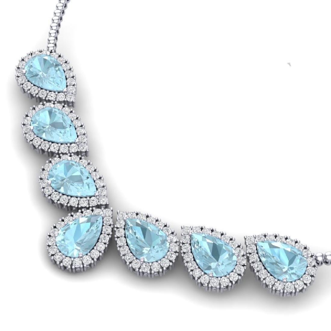36.24 CTW Royalty Sky Topaz & VS Diamond Necklace 18K - 2