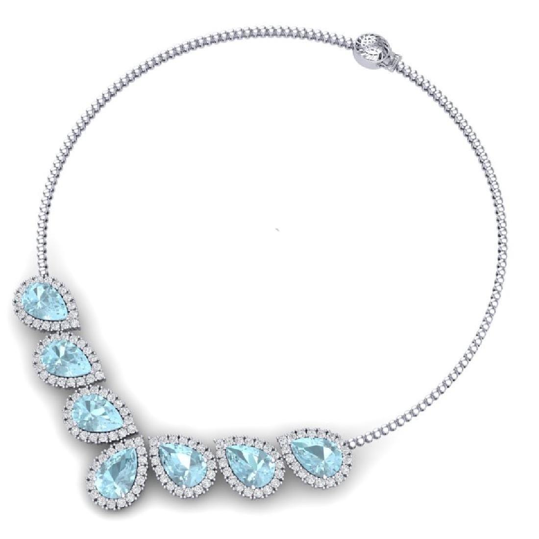 36.24 CTW Royalty Sky Topaz & VS Diamond Necklace 18K - 3