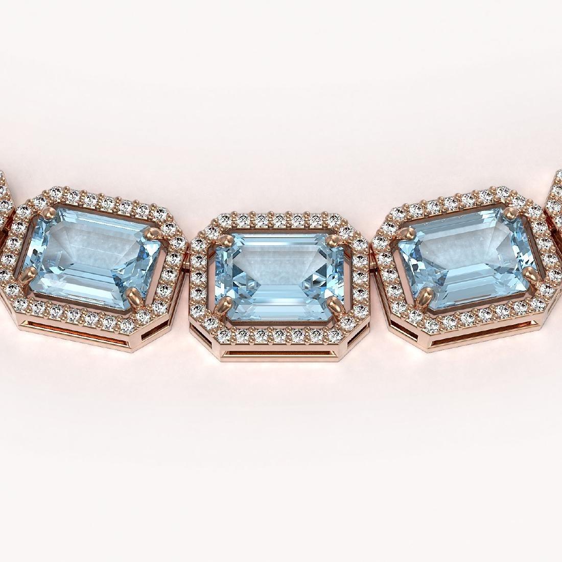 80.98 CTW Aquamarine & Diamond Halo Necklace 10K Rose - 3