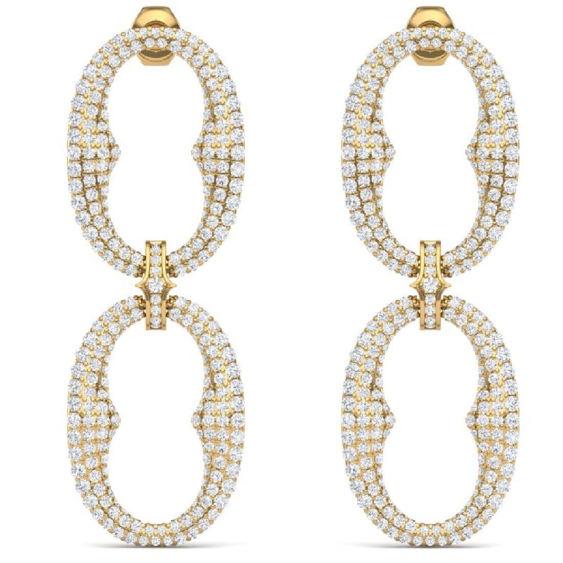 7 CTW Certified VS/SI Diamond Earrings 18K Yellow Gold - 3
