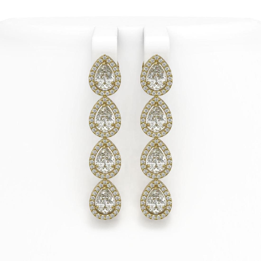 6.01 CTW Pear Diamond Designer Earrings 18K Yellow Gold