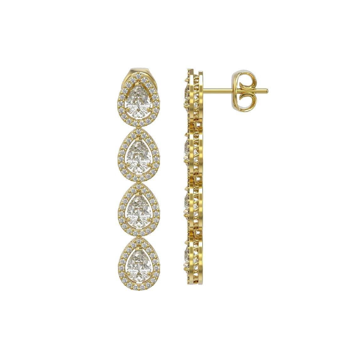 6.01 CTW Pear Diamond Designer Earrings 18K Yellow Gold - 2