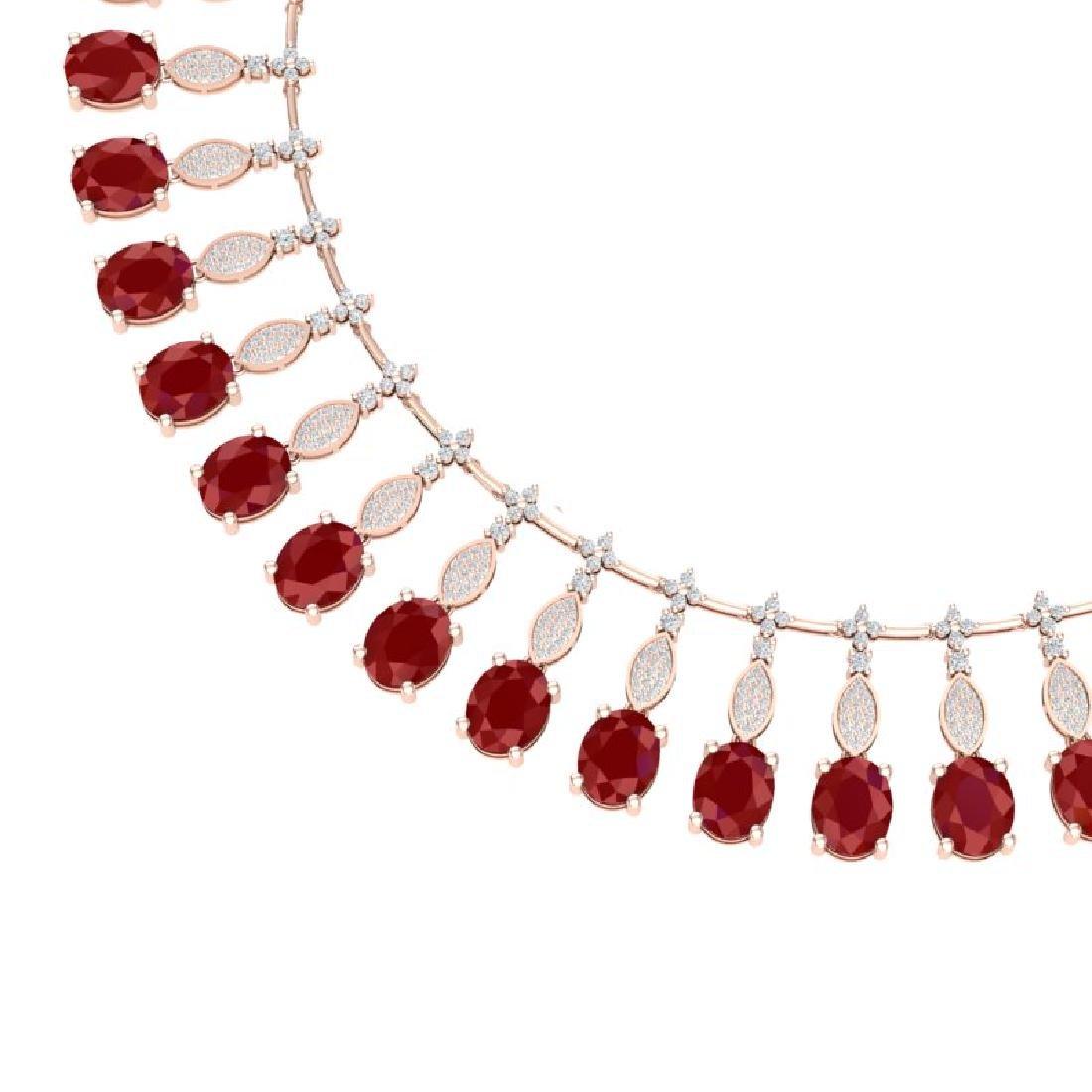 65.62 CTW Royalty Ruby & VS Diamond Necklace 18K Rose