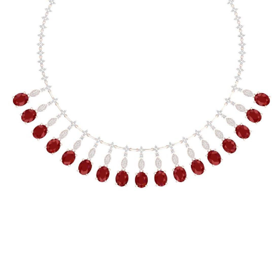 65.62 CTW Royalty Ruby & VS Diamond Necklace 18K Rose - 2