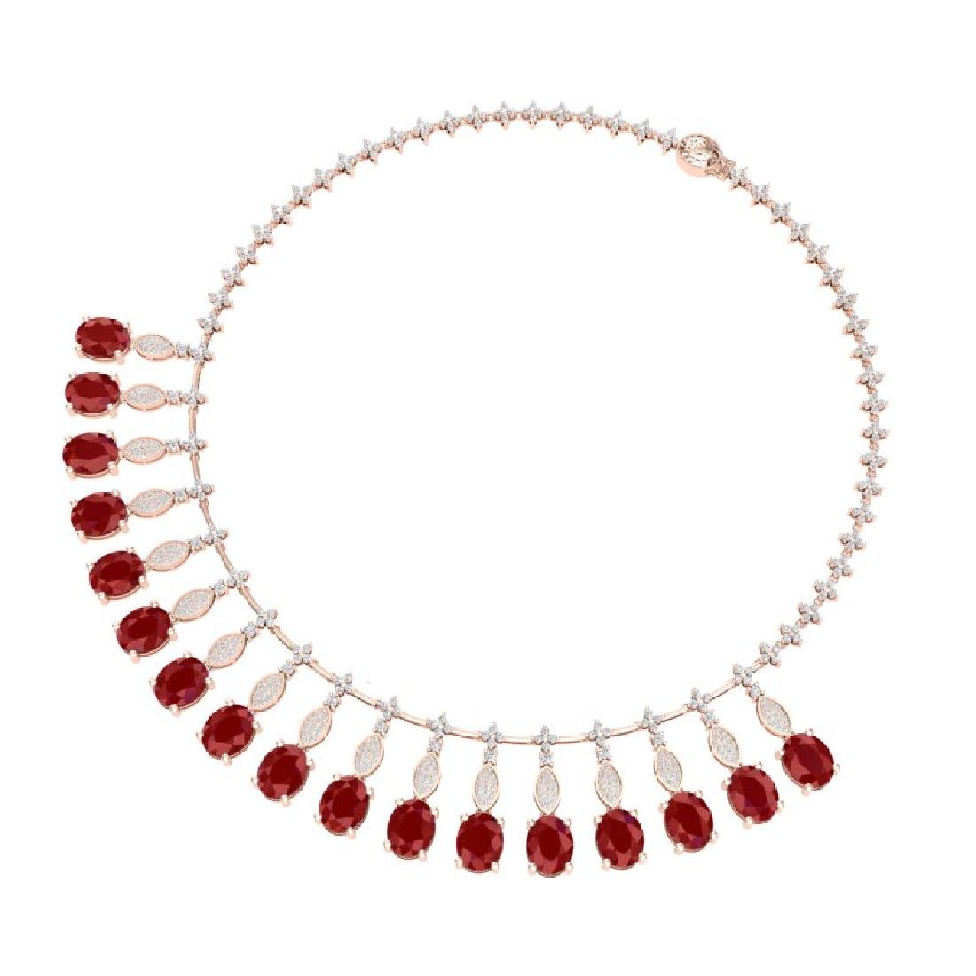 65.62 CTW Royalty Ruby & VS Diamond Necklace 18K Rose - 3