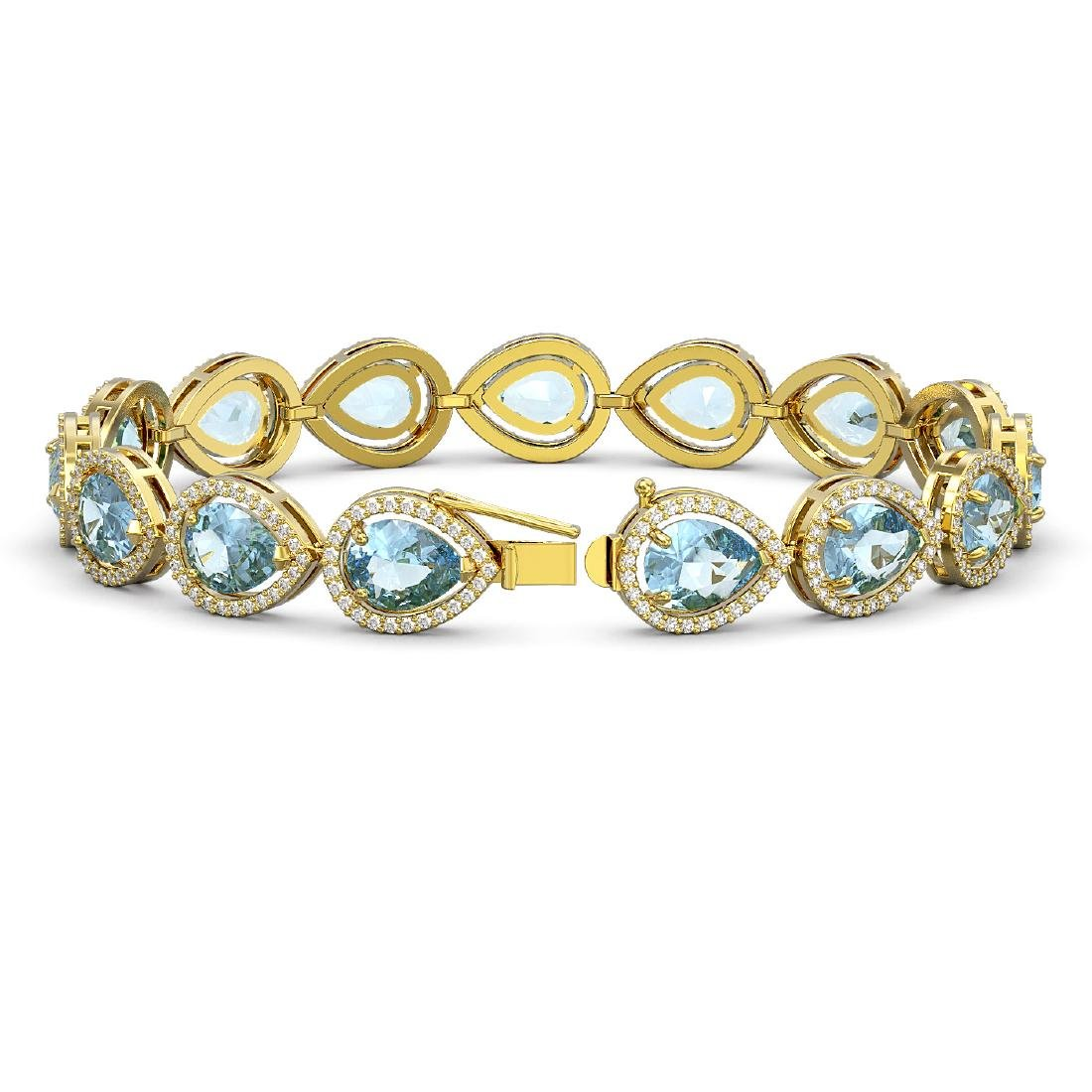 19.85 CTW Aquamarine & Diamond Halo Bracelet 10K Yellow - 2