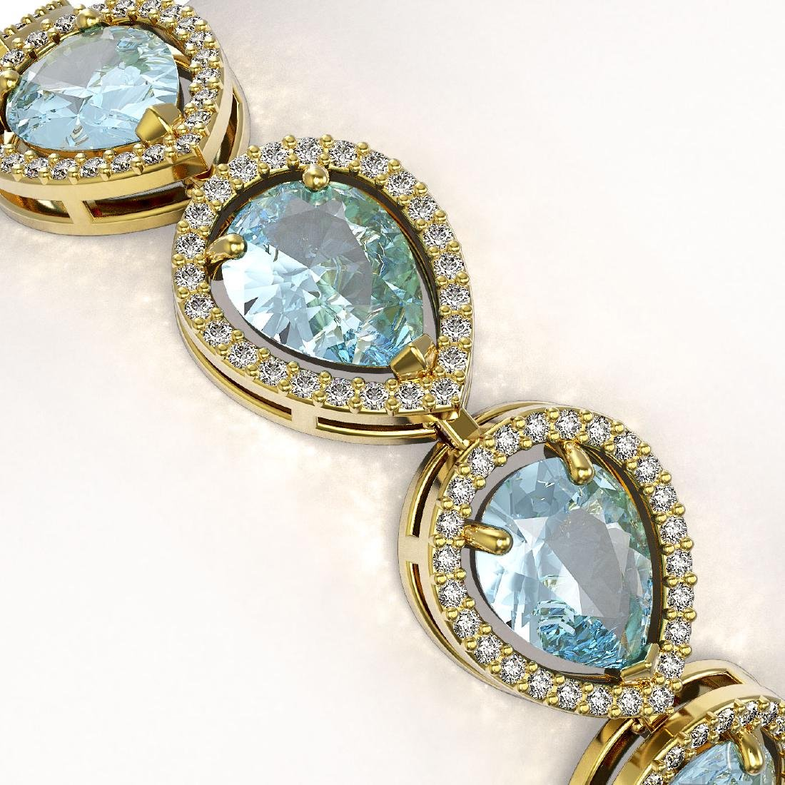 19.85 CTW Aquamarine & Diamond Halo Bracelet 10K Yellow - 3