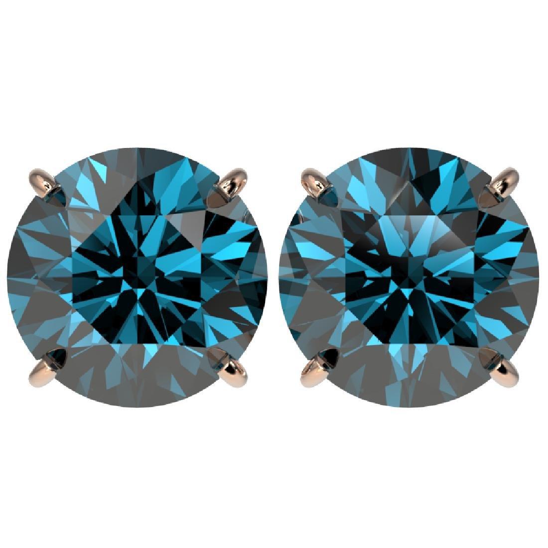 5 CTW Certified Fancy Blue SI Diamond Stud Earrings 10K
