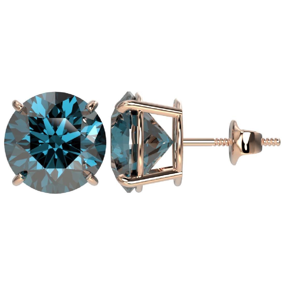 5 CTW Certified Fancy Blue SI Diamond Stud Earrings 10K - 2