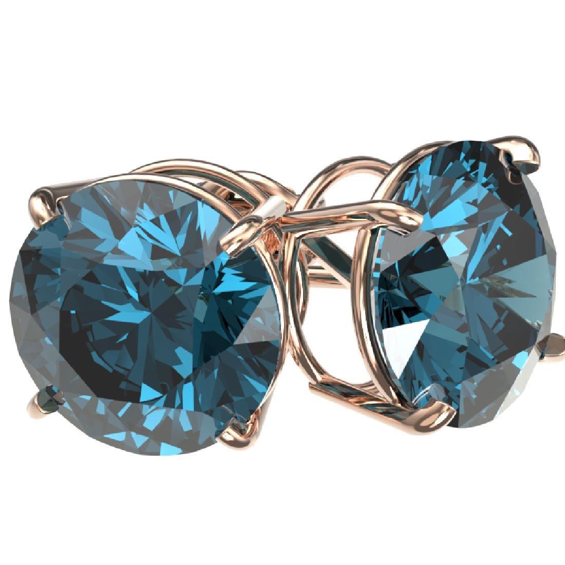 5 CTW Certified Fancy Blue SI Diamond Stud Earrings 10K - 3