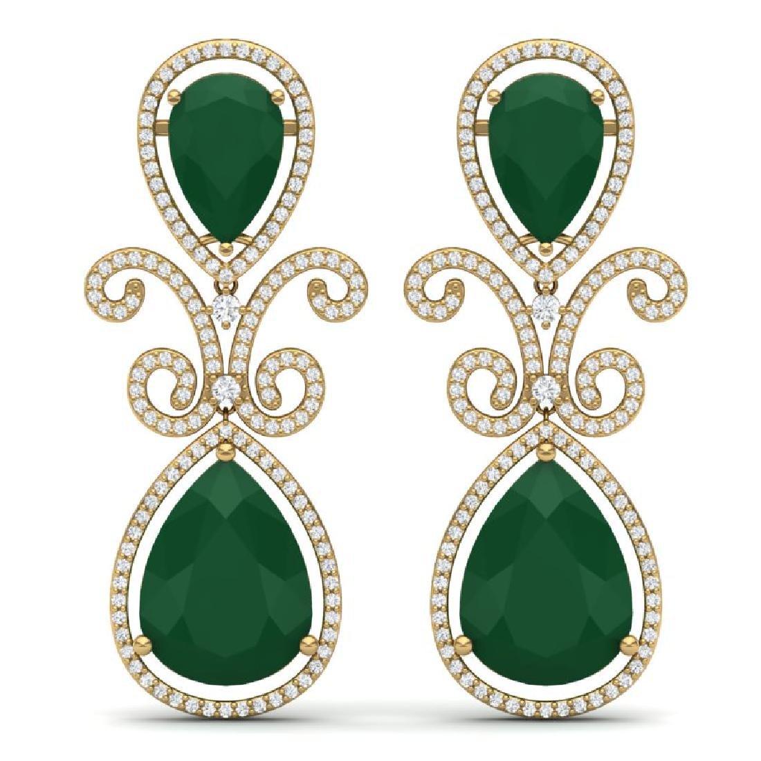 31.6 CTW Royalty Emerald & VS Diamond Earrings 18K