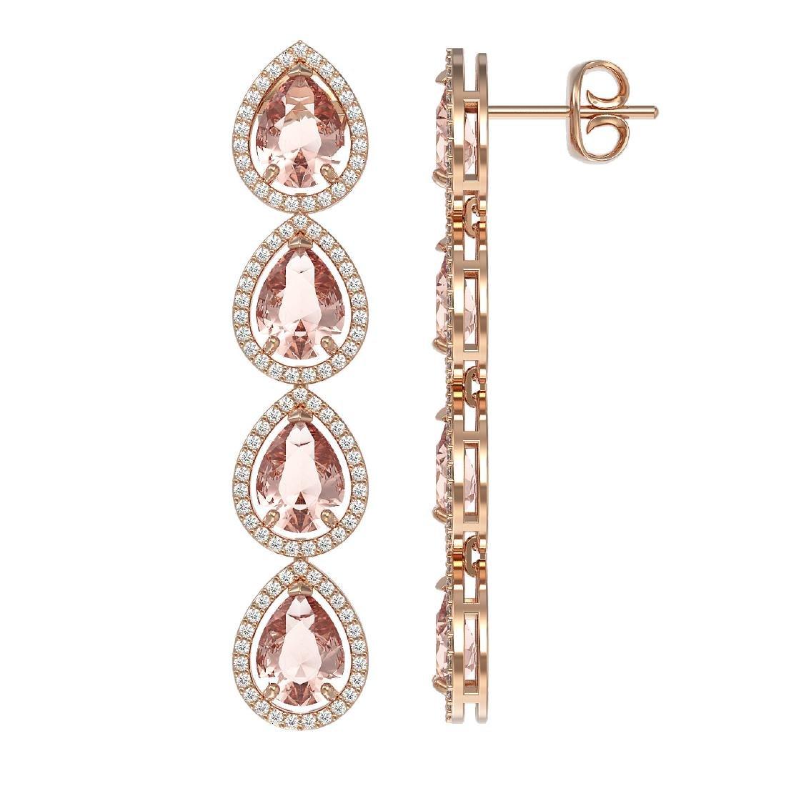 10.4 CTW Morganite & Diamond Halo Earrings 10K Rose - 2