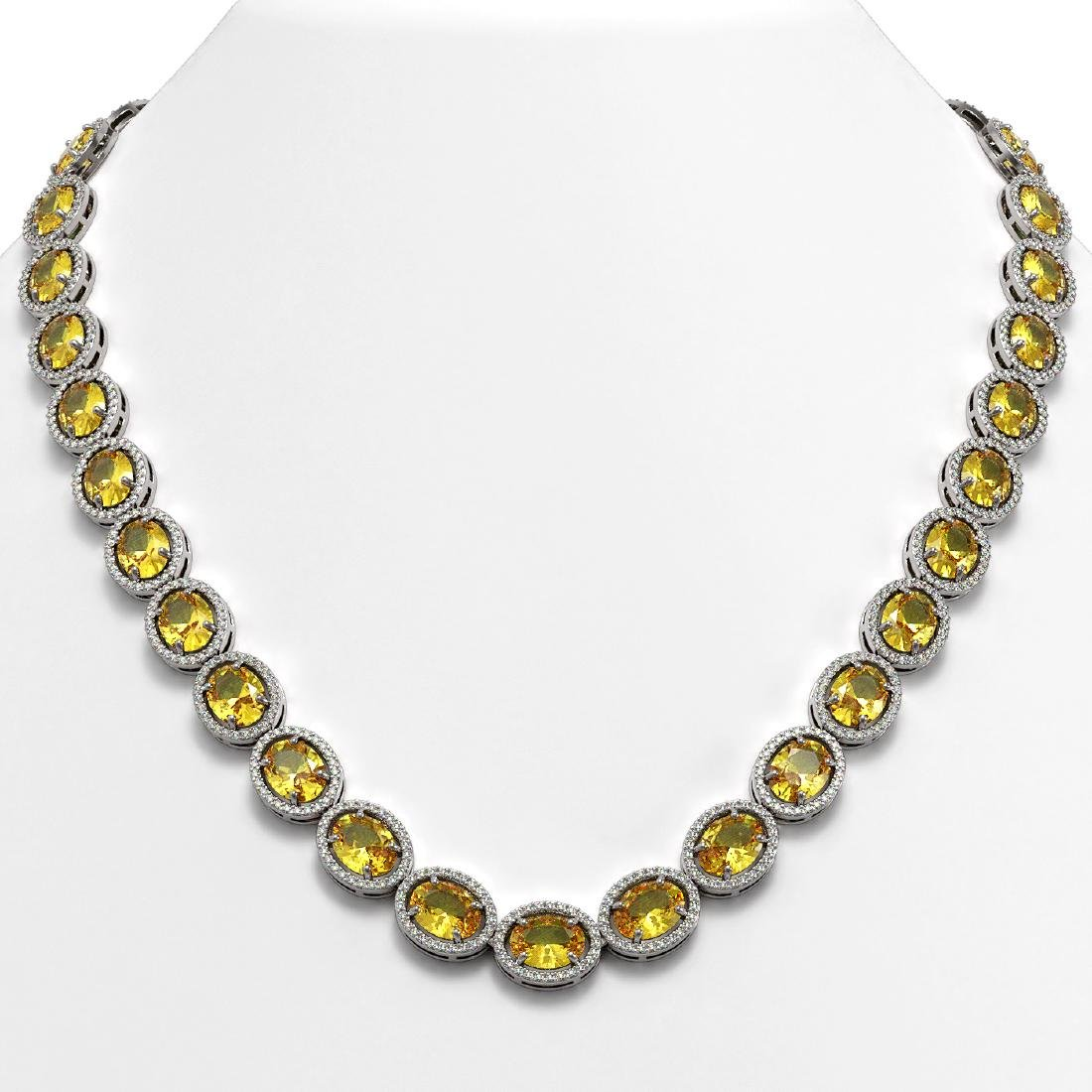 58.27 CTW Fancy Citrine & Diamond Halo Necklace 10K
