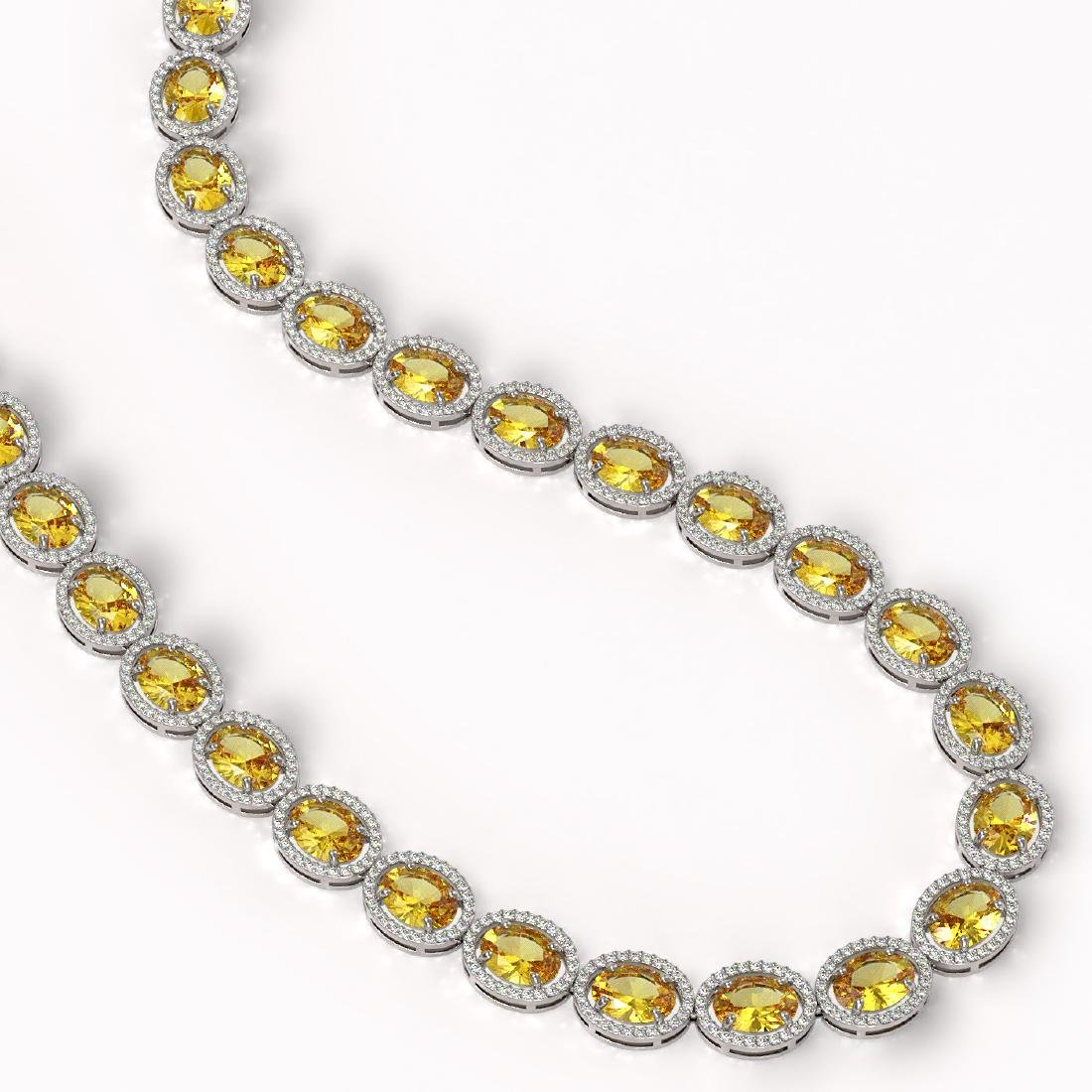58.27 CTW Fancy Citrine & Diamond Halo Necklace 10K - 2