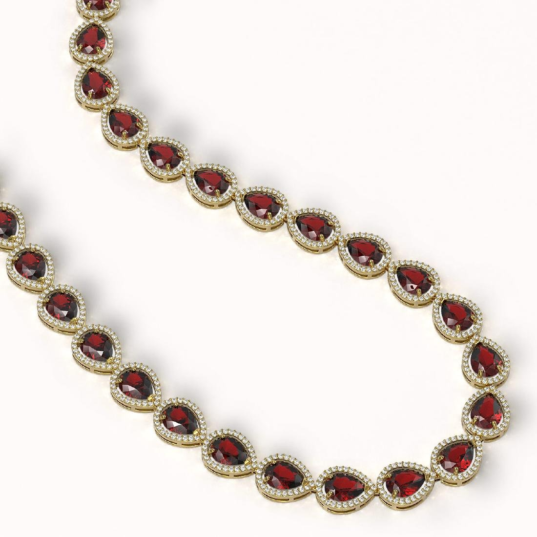 36.8 CTW Garnet & Diamond Halo Necklace 10K Yellow Gold - 2