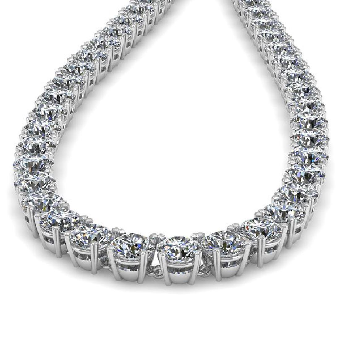 34 CTW Certified SI Diamond Necklace 14K White Gold - 2
