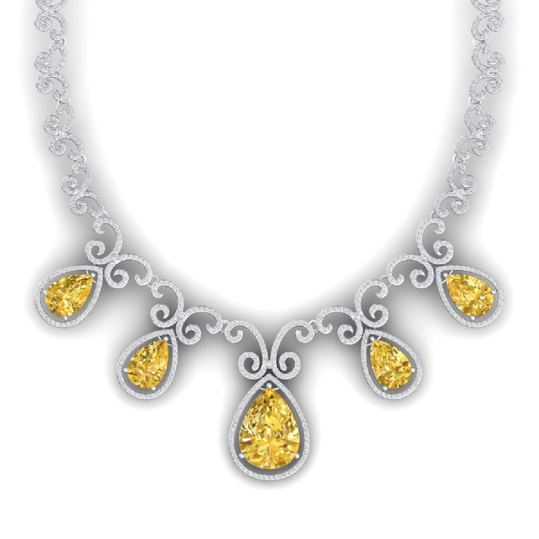 36.1 CTW Royalty Canary Citrine & VS Diamond Necklace