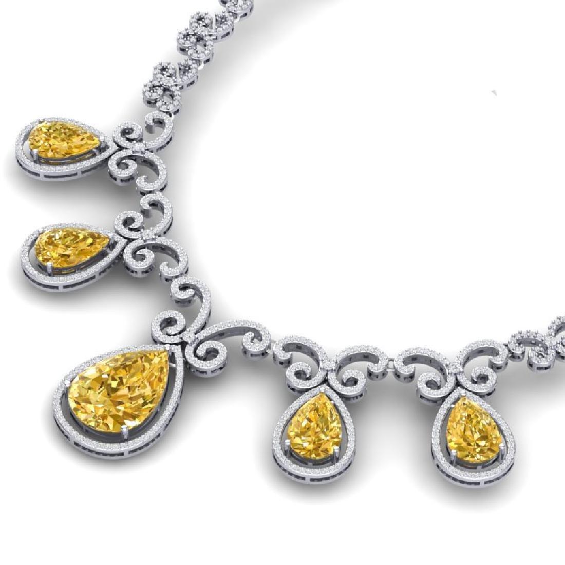 36.1 CTW Royalty Canary Citrine & VS Diamond Necklace - 2