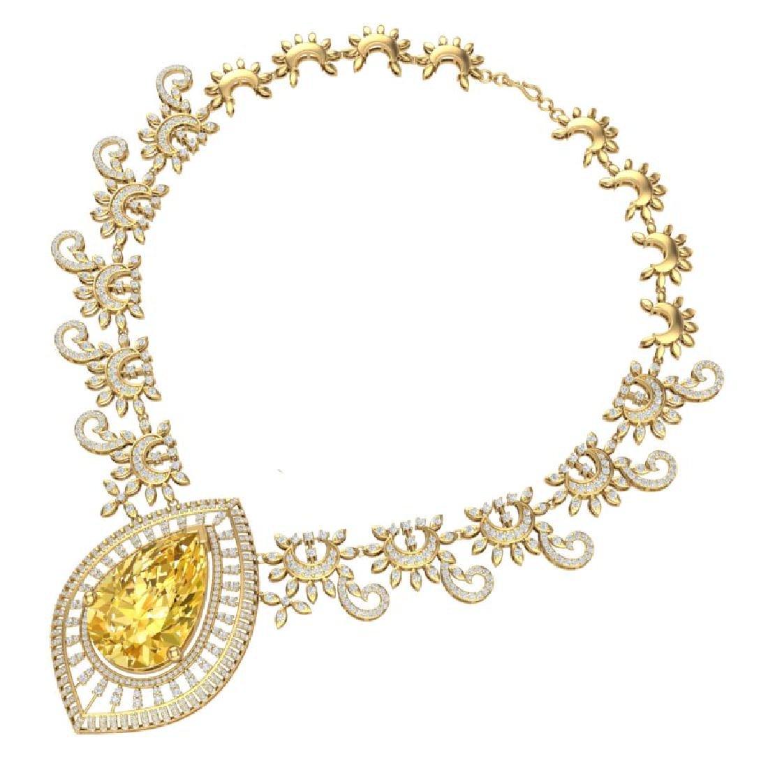 53.17 CTW Royalty Canary Citrine & VS Diamond Necklace - 3