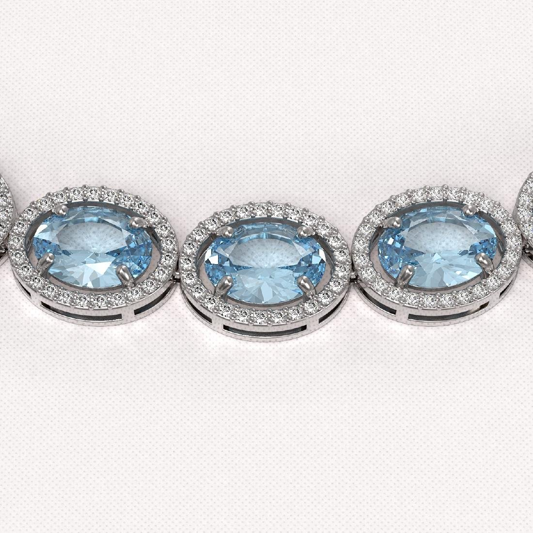 54.11 CTW Aquamarine & Diamond Halo Necklace 10K White - 3