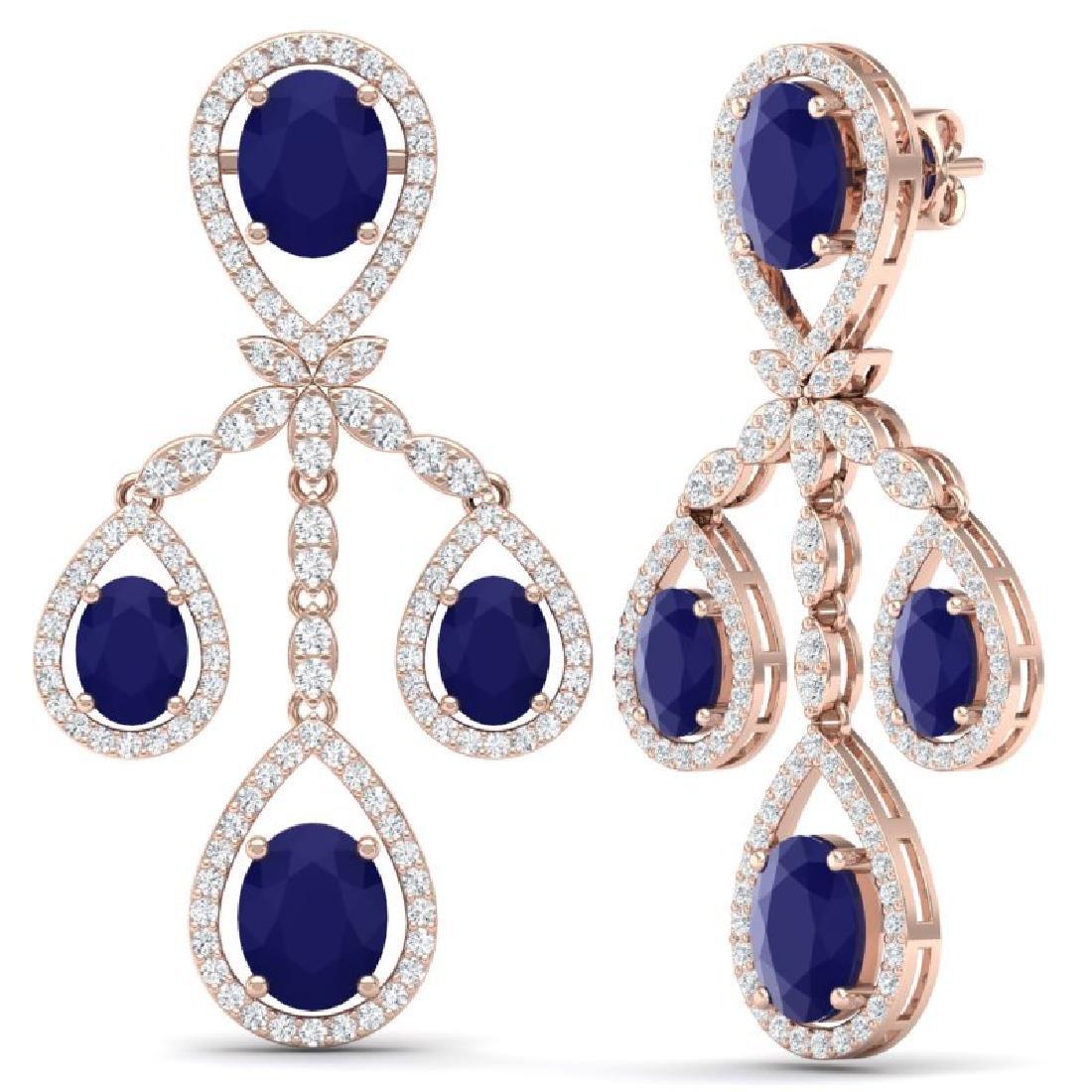 25.08 CTW Royalty Sapphire & VS Diamond Earrings 18K - 3