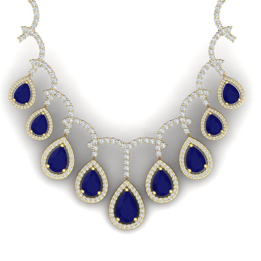 31.5 CTW Royalty Sapphire & VS Diamond Necklace 18K
