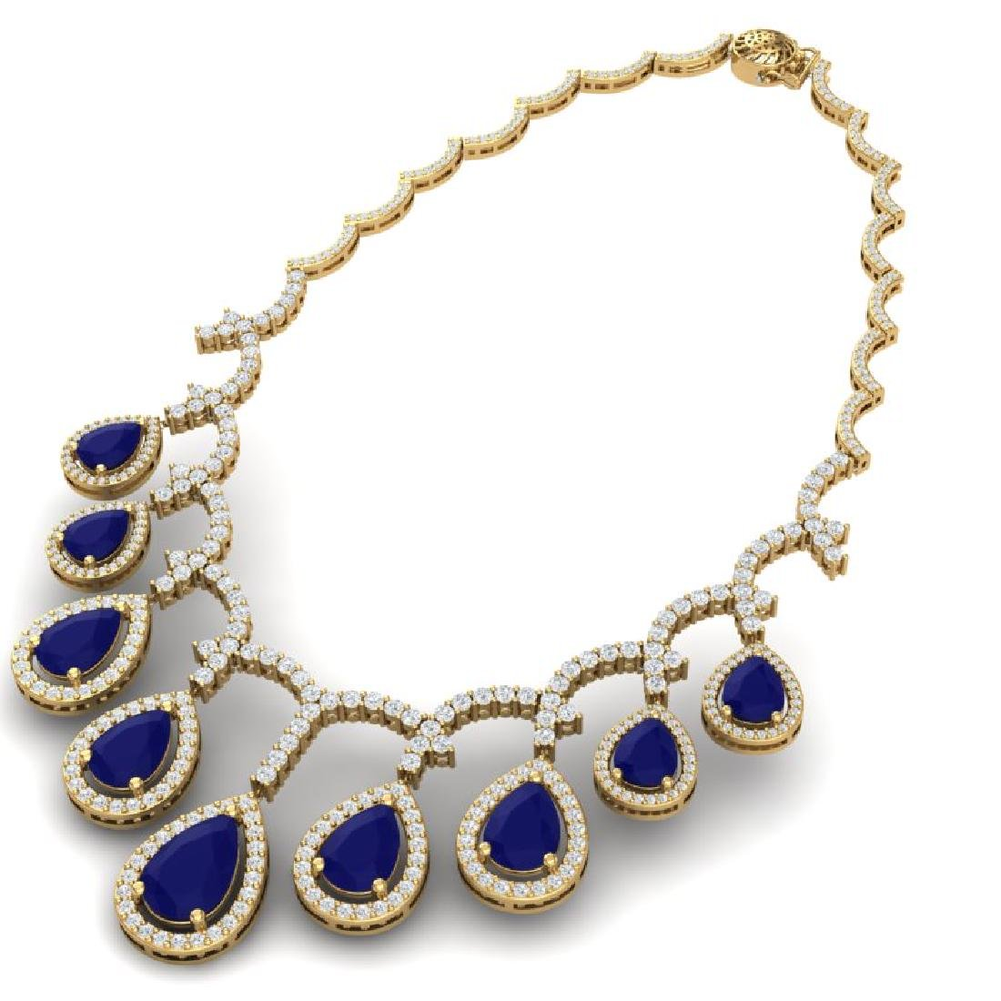 31.5 CTW Royalty Sapphire & VS Diamond Necklace 18K - 3