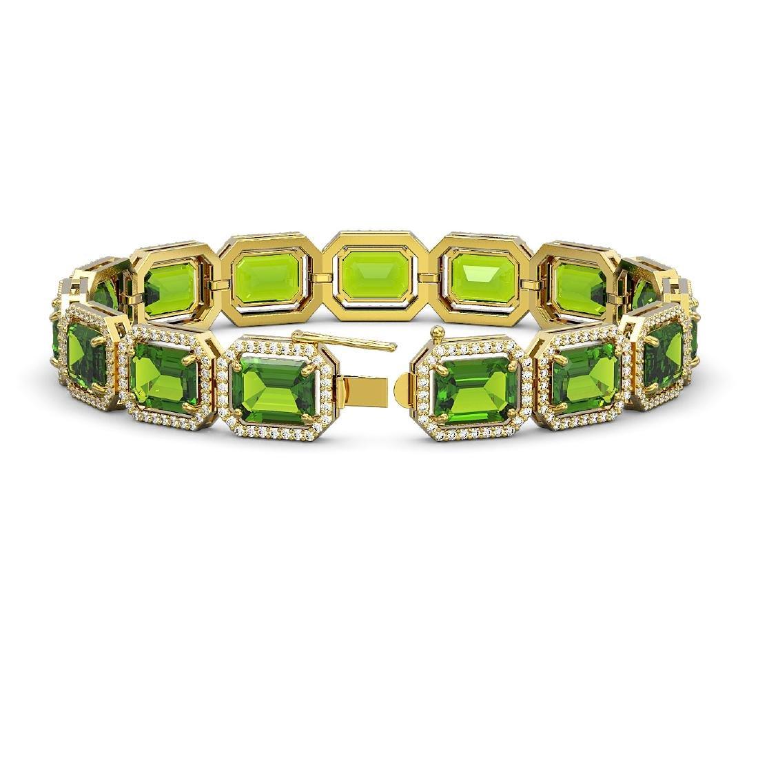 33.37 CTW Peridot & Diamond Halo Bracelet 10K Yellow - 2