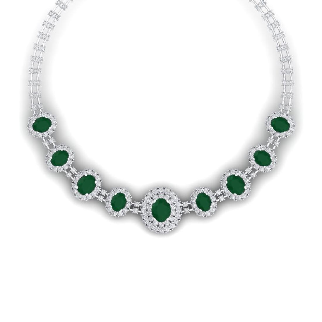 45.69 CTW Royalty Emerald & VS Diamond Necklace 18K
